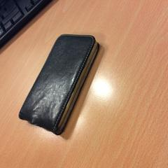 Zwart zilveren Samsung bruin lederen hoesje