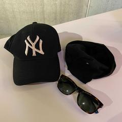 Brown/black sunglasses, black bob and black NY hat, as reported by MEININGER Hotel Bruxelles Gare du Midi using iLost