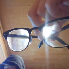 Black Ray Ban eyeglasses (black grips on ears), as reported by Holland Ridge Farms using iLost
